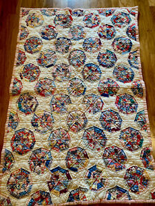 """Antique Handmade Hand Stitched & Quilted DRESDEN PLATE QUILT -54"""" X 35"""" SEE"""