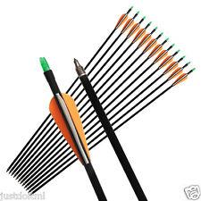 "12PCs 33"" Archery Nocks Fletched Arrows Fiberglass Target Practice Hunting Arrow"
