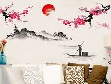 Chinese Style Sakura Japanese Pink Cherry Blossom Tree Decor Wall Sticker Decor