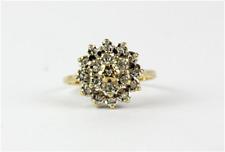 9ct yellow gold diamond set cluster ring, (J.5)