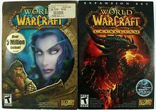 World of Warcraft & Cataclysm Expansion Online MMO PC Game Lot w/Box