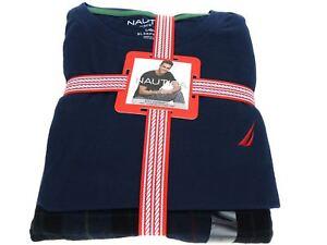 Nautica Men's 100% Cotton Pajama Pant and T-Shirt Set Navy Blue Plaid Size L