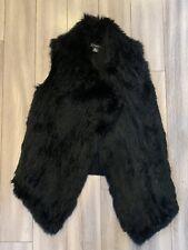 C by Bloomingdales Black Rabbit Fur Vest XS