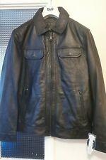 Perry Ellis Men's Leather Jacket Size M RRP £380