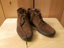 TOD'S leather suede ankle boots car driving moccasins brown 38.5 Made in Italy