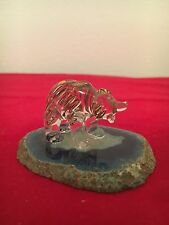 Glass Bear With Gold Trim Standing On Agate-Made In Alaska