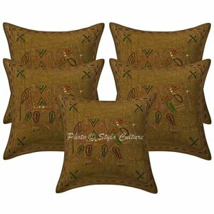 Indian Home Decor Cushion Covers 40x40cm Gold Decorative Embroidered Pillowcases