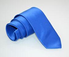 CRAVATTA 100% SETA BLU uomo fatta a mano tinta unita classica tie krawatte A27