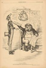 Th. Nast, Political Cartoon, British Lion, US Eagle, Vintage 1883 Antique Print