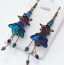 Blue & Purple Hand Painted Vintage Style Lucite Flower Unique Gift Earrings