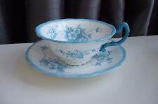 Antique Victorian Blue Floral Decorated Pointons Teacup & Saucer VGC- 1891-1916