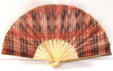 Handmade Batik Bamboo Folding Hand Fan Orange Brown (S) New
