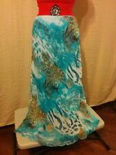 Rene Margo Plus Size 1X Ocean Blue & Brown Paisley Chiffon Bias Cut Skirt