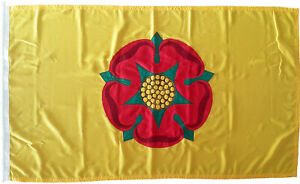 Lancashire county flag Lancaster red rose mod sewn woven polyester embroidered