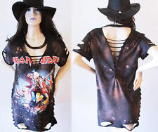 Iron Maiden Trooper Deep v bleached distressed shirts dress or top S-XL back cut