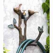 Bird Branch Wall Spigot Mounted Hose Holder Decorative Birds Garden Decor