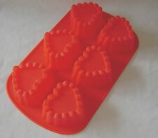 NEW SILICONE CAKE BAKING TRAY 6 HEART MOULDS MINI CAKES JELLY RED CHEFAID SALE !