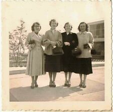 Old Vintage Antique Photograph Four Women Wearing Coats and Holding Pocketbooks