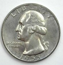 1955-D WASHINGTON SILVER 25 CENTS GEM++ UNCIRCULATED EXTREMELY RARE THIS NICE!
