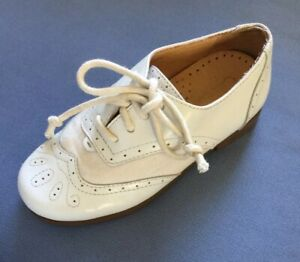 Cole Haan Boys White Wingtip Oxford Shoes Canvas & Leather Toddler 9/10 ??