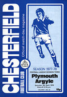 1977/78 Chesterfield v Plymouth Argyle, Division 3, PERFECT CONDITION