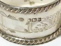 Antique Solid Silver Napkin Ring 1924 - Floral Pattern Border Vacant Cartouche