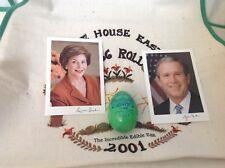 2001 Bush White House Easter Egg Roll GREEN EGG + Rare 2001 APRON + 2 PHOTOS