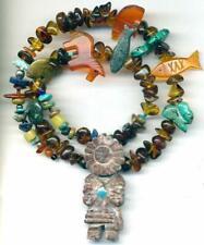 """Southwest Trade Beads Kachina Amber Horse Fish Bear Turquoise Rabbit Turtle 17"""""""