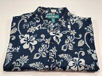 Big Dogs Men's 3X Hawaiian Short Sleeve Cotton Blend Floral Blue White Shirt