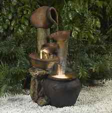 Pentole Pot Indoor Outdoor Water Fountain with Light, Outdoor Garden Patio Decor
