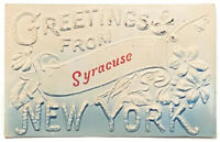 VINTAGE 1908 GREETINGS FROM SYRACUSE NEW YORK WINTER POSTCARD Embossed Orange