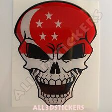 Sticker Flag Singapore Skull Adhesive Decal Resin Domed Car Moto Tablet 3D