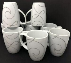 Corelle Coordinates Squares Endless Thread Mug Cup Set Porcelain -LOT OF 8- EUC