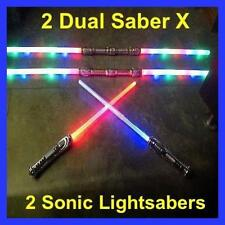 2 Led FX STAR WARS Lightsaber Light Saber Sword w/ Sound Color FX+ 2 Dual Sabers