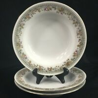 "Set of 3 VTG Soup Bowls 7 3/4"" by Crown Regent Fine China Flowers Floral Swag"
