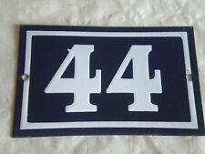 VINTAGE casa numero No44 Art Deco Francese Blu Smaltato tipo Solido Bianco 15 x 10cm