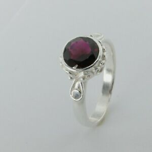 Size 9 1/2 - Size 9.5 Genuine Round Red GARNET Ring - 925 STERLING SILVER #85