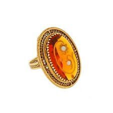 Vtg 14k Gold Victorian Style Daisy Rose De Sharon Topaz / Citrine Ring Sz 9.25