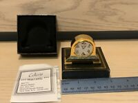 Disney Mickey Mouse Mini Mantle Clock Collezio Gold Donald Minnie Pluto Goofy