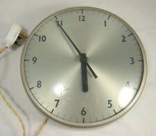 Vintage Industrial Silver / Grey Metal Wall Clock 60s Gents 250V Electric School