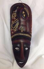 "Carved Wood Face Mask & Zebra African Ethnic Wall Art Haiti 13"" Folk Art"