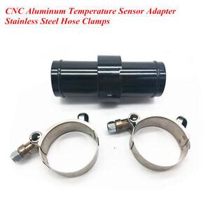 Aluminum Black Inline Radiator Hose Temperature Sensor Adapter 3/8 NPT + Clamps