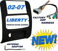 02-07 JEEP LIBERTY KIT+AMP HARNESS+ANTENNA Radio Stereo Car Dash Double Din