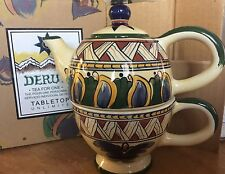 DERUTA Tea for One Stackable 3 Pc.Teapot Set Tabletops Unlimited - Hand Painted