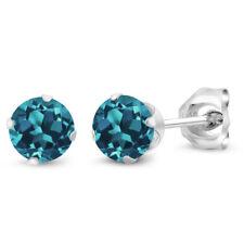 0.60 Ct Round 4mm London Blue Topaz 925 Sterling Silver Stud Earrings