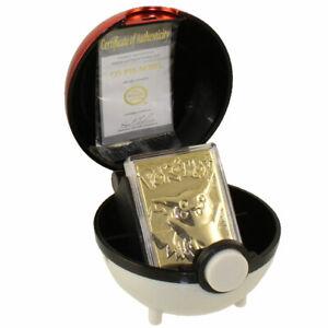Pokemon Toys - Burger King Gold-Plated Card - PIKACHU #025 (Pokeball & Gold Card