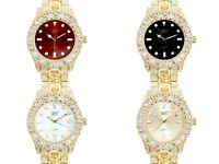 Men Ice Watch Bling Rapper Simulate Diamond Metal Gold Hip Luxury Cubic Prom USA