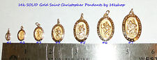 14K Solid Gold Small Die Struck  St St. Saint Christopher Pendant Charm Medal