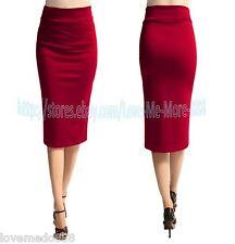 Womens Casual Slimming Fit Work Long Shift Pencil Maxi Midi Skirt Dress RED 3XL