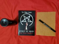 Beginners Devil Worship Kit: Beeswax Candle, Satanic Book, Goatskin Vellum/Pen!